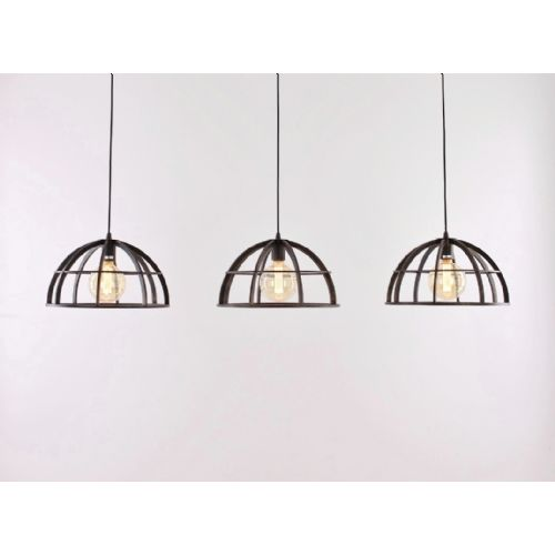 Hanglamp 3-lichts roestbruin 150cm