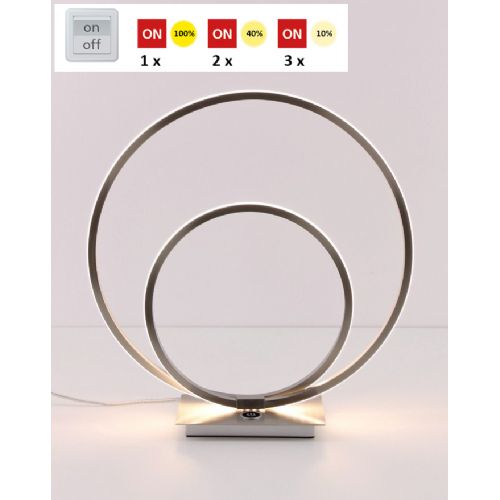 Tafellamp LED rond cirkels rvs