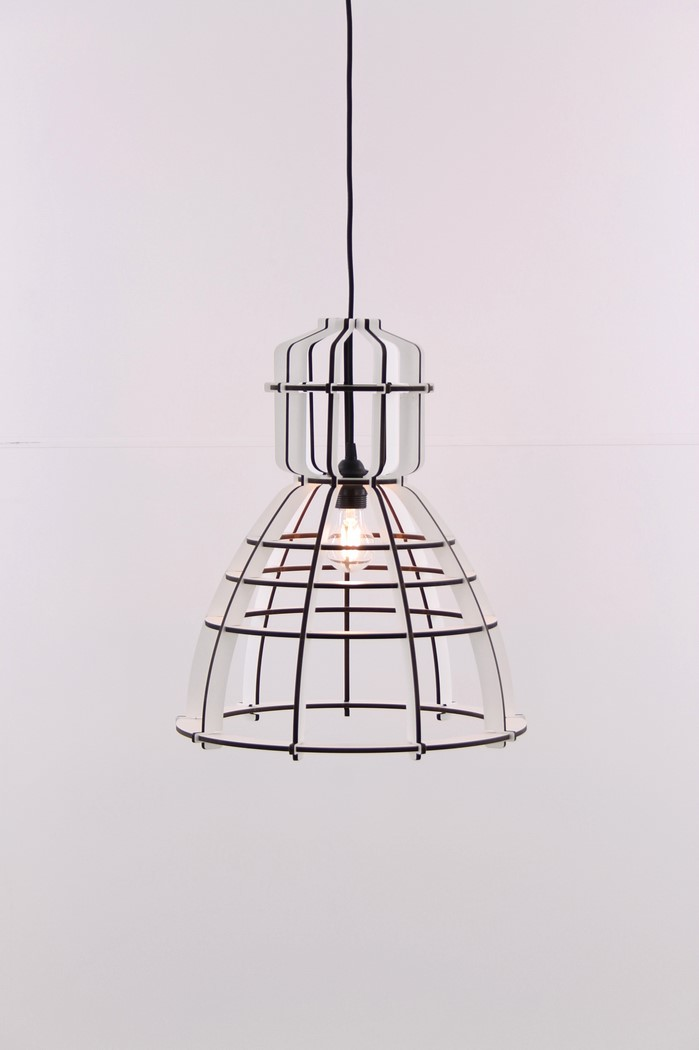 Hanglamp hout wit 42cm