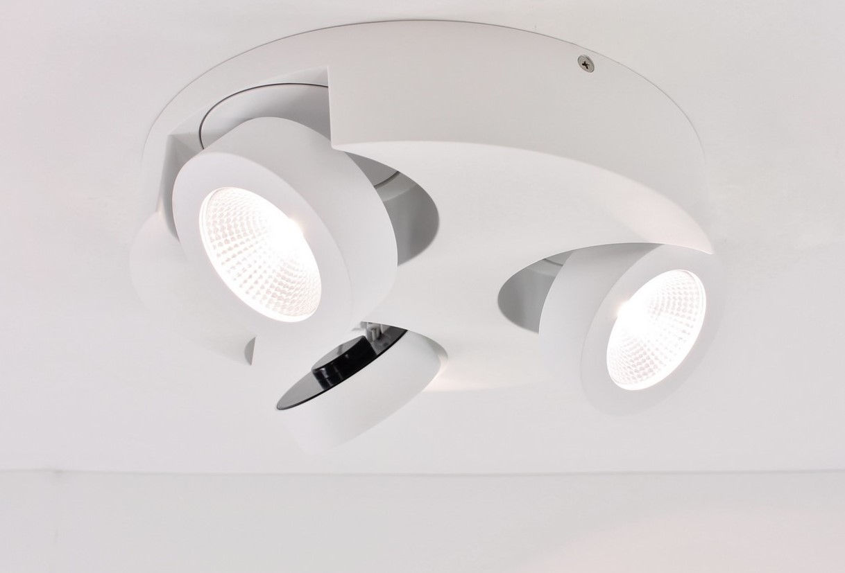 Opbouwspot LED 3-lichts wit metaal
